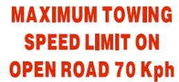 Trailer – Maximum Towing Speed 70kph