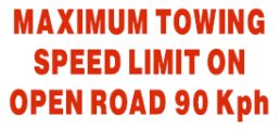 Trailer – Maximum Towing Speed 90kph