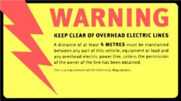 Sticker – Keep clear of overhead lines – 4 metre (sheet of 6)